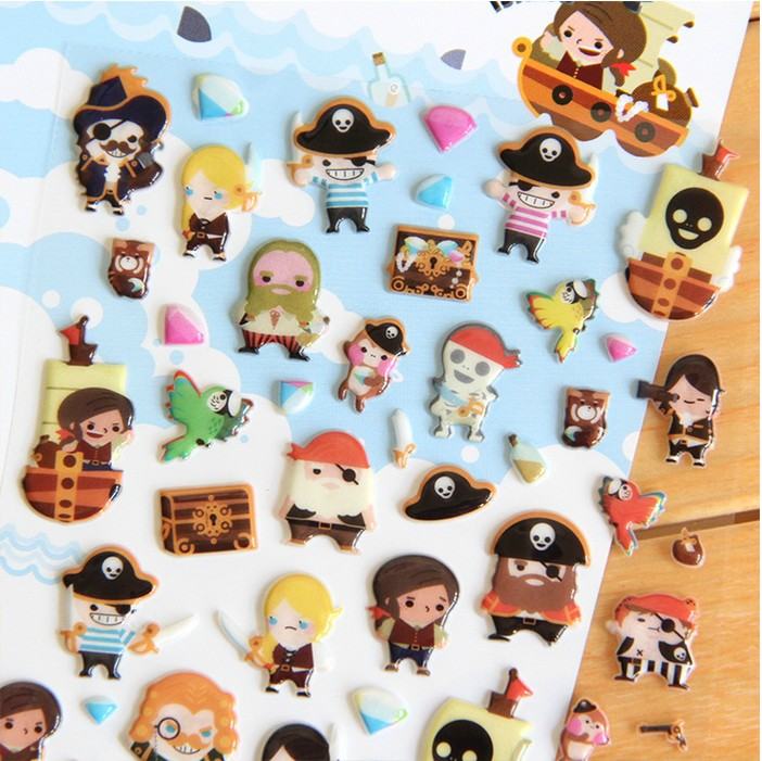 Novelty Pirate 3D Stickers Diary Sticker Scrapbook Decoration PVC Stationery Stickers pirate jack