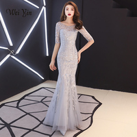 weiyin Robe De Soiree O Neck Silver Mermaid Long Evening Dresses Backless Luxury Sequin Formal Party Dress Prom Gowns WY1315