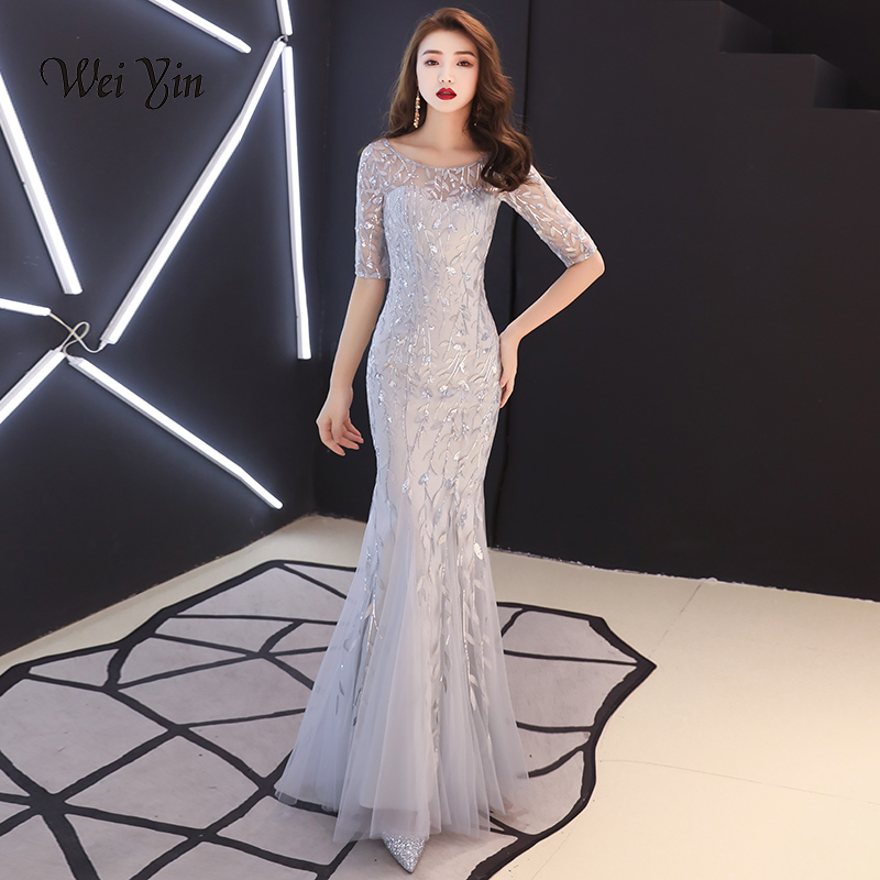 weiyin Robe De Soiree O-Neck Silver Mermaid Long   Evening     Dresses   Backless Luxury Sequin Formal Party   Dress   Prom Gowns WY1315