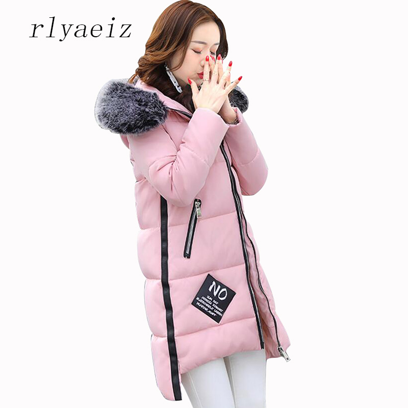 RLYAEIZ 2017 Fashion Winter Coat Women Parka Middle-long Womens Outerwear Jacket Fur Collar Hooded Warm Ladies Jackets And Coats