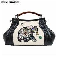 ZURICHOUSE Luxury Ladies Handbags Elephant Embroidery Diamond Clutch Purse Hobos Bag Women Leather Chain Shoulder Messenger Bags