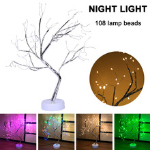 Newest Potted Desk Lamp Night Lights Bonsai Tree Christmas Decor with 108 LED Beads