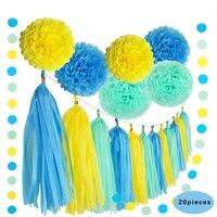 20pcs/set Handcraft Yellow Blue Rice Pompom Paper Flower Tissue Tassel Garland for Wedding Kid's Birthday Party Diy Decoration