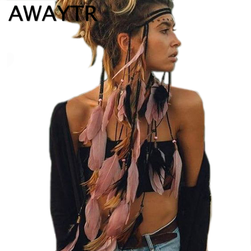 Feather Headband AWAYTR Rope Crown for Women   Headwear   Festival Hair Accessories Summer Beach Headpieces