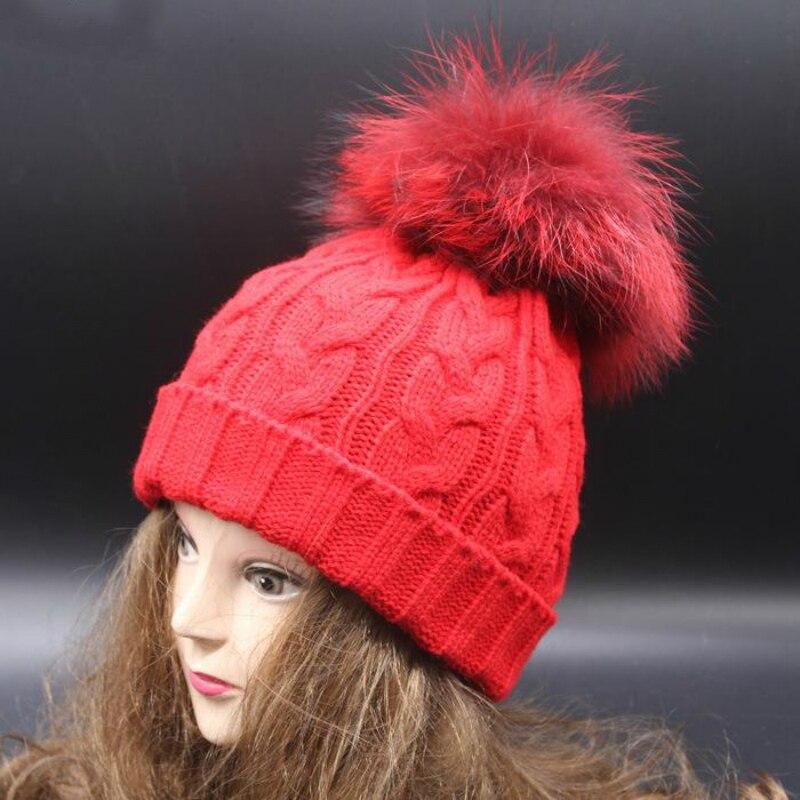 Sombreros de beb/é,Sombreros de Punto de Lana y un Bonito Pomp/ón de Piel de Mapache,Gorro de Invierno Unisex Caqui
