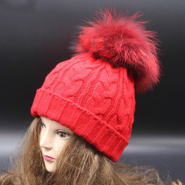 Real Raccoon Fur Pom Pom Hat 15cm Big Dyed Ball Mutilcolors Knit Cap With PomPom Luxury Fashion Beanie Blue Grey Red Black