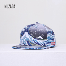 NUZADA Brand Hat Men Women Couple Hip-Hop Hat Cotton Polyester 3D Printed Summer Ocean Wave Seaside Holiday Personality Caps