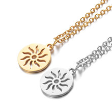 2019 316L Stainless Steel Hollow Out Sun Charm Pendant Necklace Gold Silver Tone Long Chain Choker Collar for Women Men Gift stylish hollow out solid color choker necklace for women
