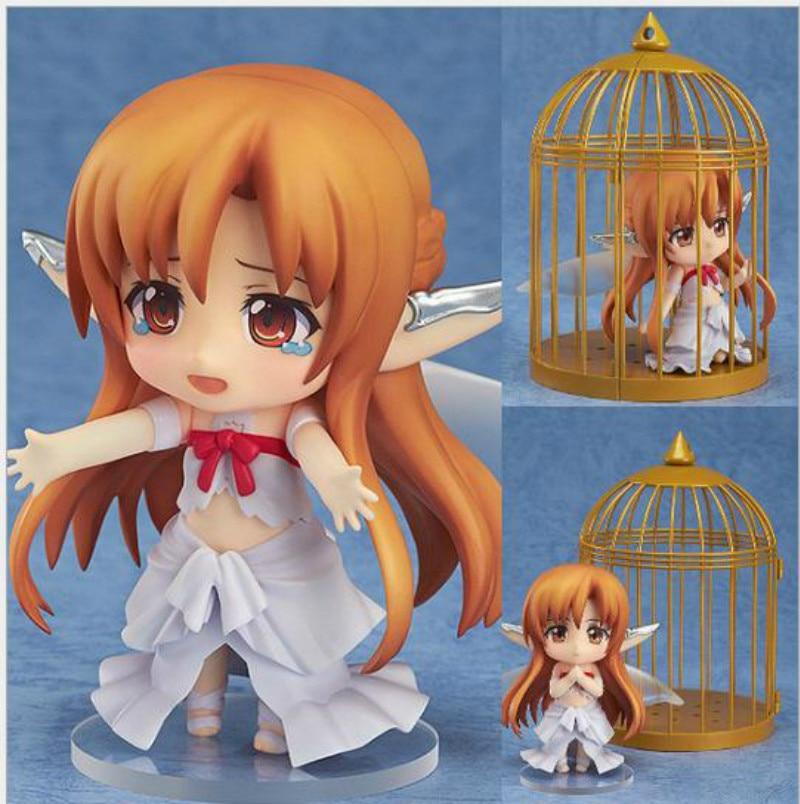 Classic Toys PVC 10cm Figuart Anime With birdcage Change Face Toys Sword Art Online Action Figure Aincrad SAO Yuuki Asuna