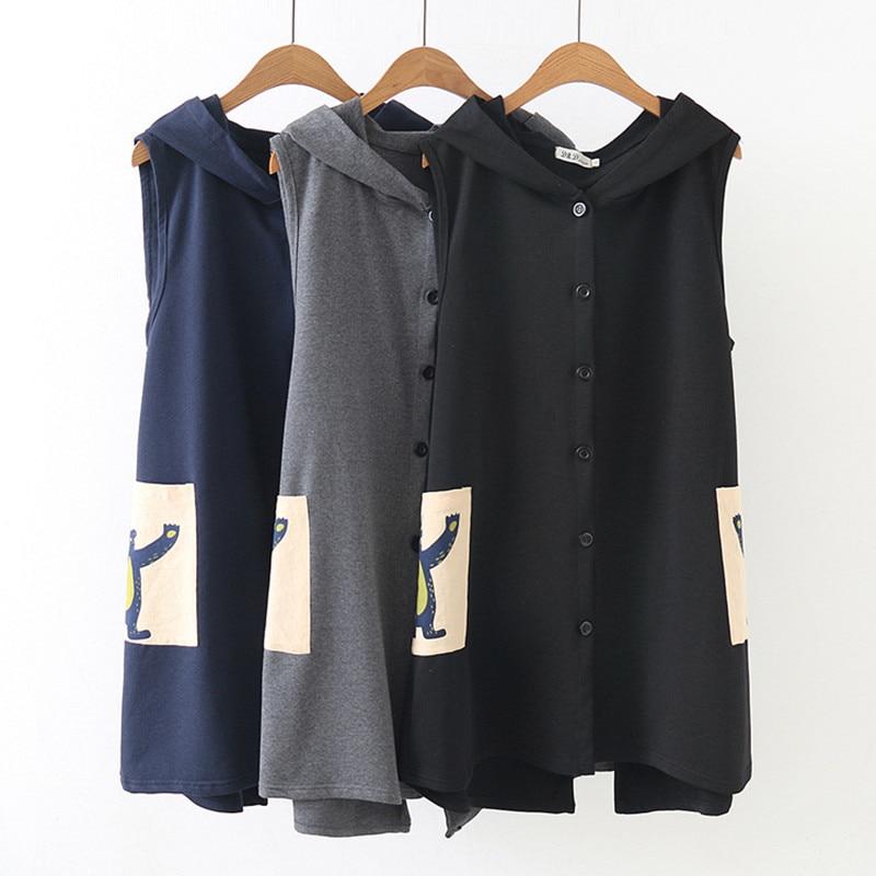 2020 Spring Large Size Long Veste Femme Kawaii Cartoon Printed Women's Vest Hooded Casual Waistcoat For Women Sleeveless Jacket