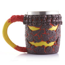 3D Design Skull Cup 350ml Creative Stainless Steel Magma Monster Mug Double Wall Coffee