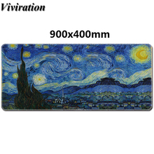 лучшая цена 2019 New Hot Product Van Gogh Print Mousepad Rubber Gaming Mouse Pad For Overwatch CF For League Of Legends Dota Gamer Mause Pad