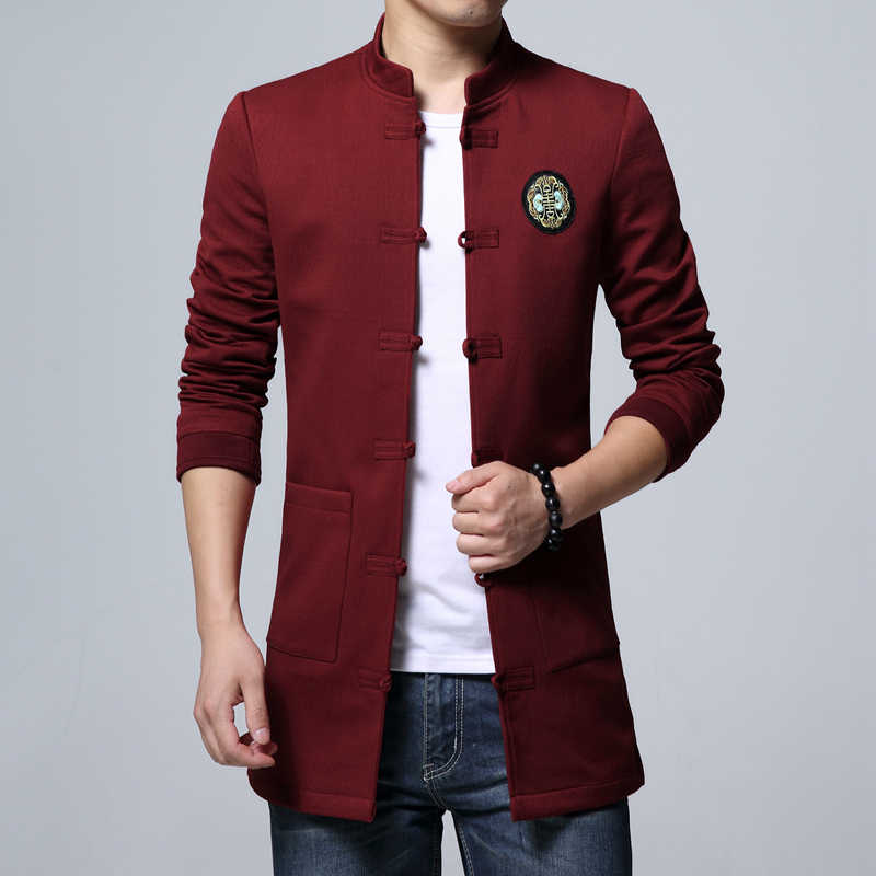 3c08577d4a9 Chinese Style Men s Long Coat New Autumn Fashion Slim Men Jacket  Comfortable Handsome Male Coats