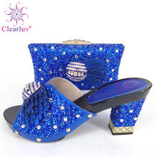 Royal Blue Latest Style African Shoes And Bag Set New Italian High Heels  Shoe And Matching f9e82d9a20af