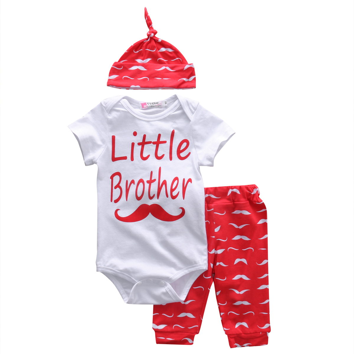 Cotton Newborn Baby Girl Boy Clothes Little Brother Cotton Romper Bodysuit Kid Legging Pants Hat 3PCS Outfits Bebes Clothing Set newborn baby boy girl 5 pcs clothing set cotton cartoon monk tops pants bib hats infant clothes 0 3 months hight quality