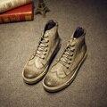 2016 hombres de La Moda Martin Botas de Estilo Británico Botas Brogue Zapatos los hombres de Oxford Zapatos de Cuero de LA PU Ocasionales Atan Para Arriba Botas de Los Hombres zapatos