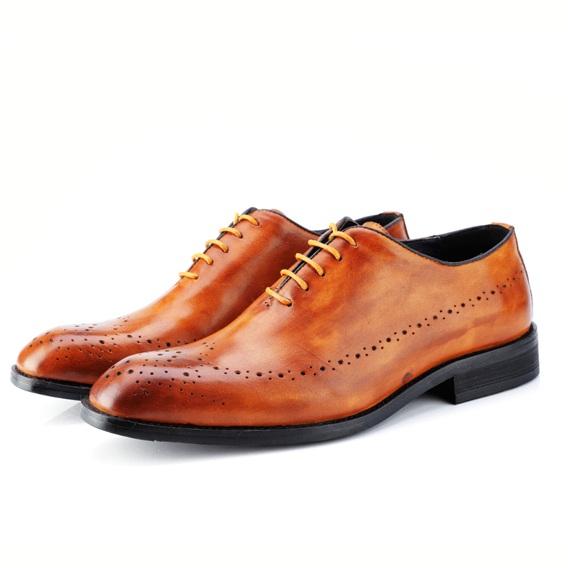 High Quality Genuine Leather Dress Men Shoes Lace Up Italy Retro Business Wedding Formal Flats Oxfords Shoes For Men