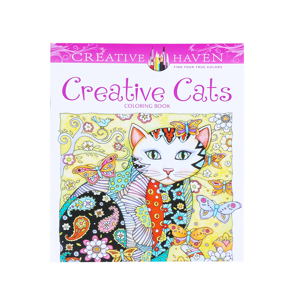 1pc Creative Cat Fun Designs Stress Relief Coloring Book Mandalas Animals Relieve Stress For Kids Adult Coloring Book 25*25cm