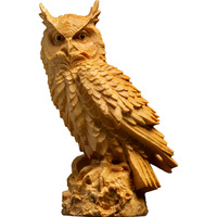 Solid Wood Owl Animal Sculpture Ornaments Carving Crafts Home Accessories Creative R1593