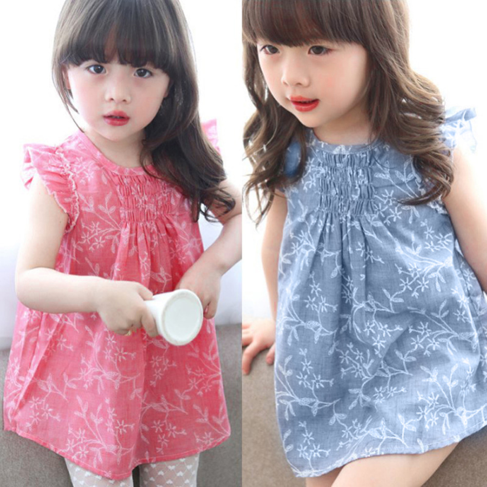 Kids Baby Summer Short Petal Sleeve O-neck Floral Princess Cute Party Dresses for Girl Children Birthday Girl Dresses Clothes