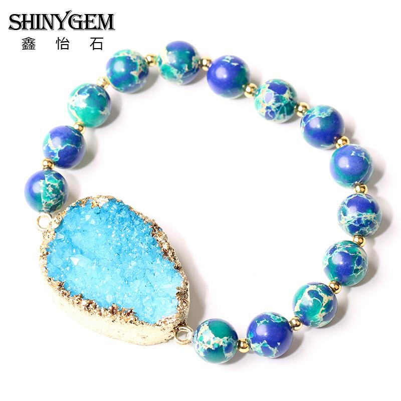 ShinyGem 8mm Natural Stone Bracelets Blue Green Sea Sediment Jaspers Bead Bracelet Handmade Rhinestone Druzy Bracelets For Women