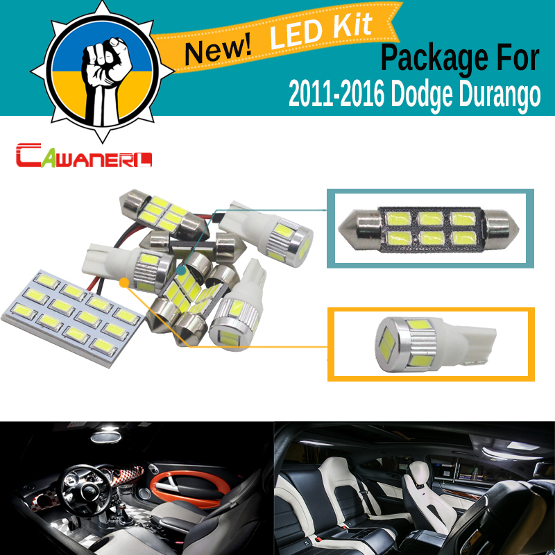 Cawanerl 9 x Car 5630 SMD Interior LED Bulb LED Kit White For Dodge Durango 2011-2016 Auto Dome Map License Plate Courtesy Light