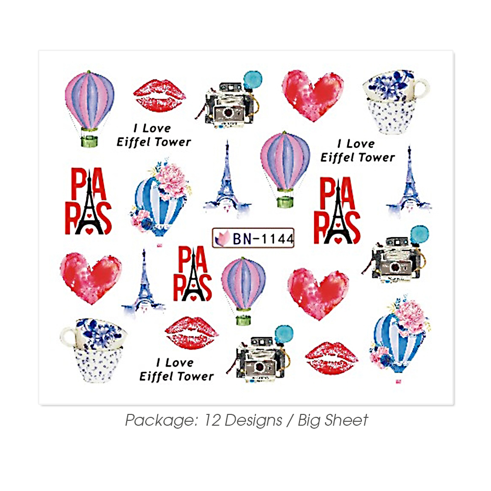 Image 5 - 12pcs Nail Art Stickers Romantic City Flowers Wraps Perfume Lovers Balloon Rose Beauty Girls Decals Nails Decor BEBN1141 1152-in Stickers & Decals from Beauty & Health