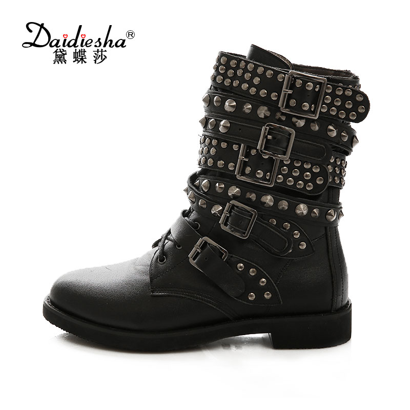 Daidiesha Cool Motorcycle Women Ankle Boots Buckle Strap Rivet Lace up Punk Female Boot Street Autu Genuine+pu Leather Boots wetkiss genuine leather cool motorcycle boots women street buckle strap rivets zip female boots low heels autumn winter boots