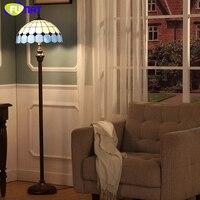 FUMAT Avrupa Bule Gölge Akdeniz Tarzı Zemin Lambaları Kısa Modern Oturma Odası Art Deco Için Vitray Işıklar Zemin Işık