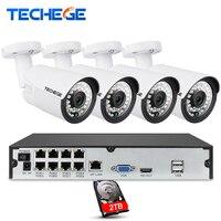 8CH 1080P 48V POE NVR Kit 4pcs 2MP 3000TVL PoE IP Camera P2P Cloud CCTV System