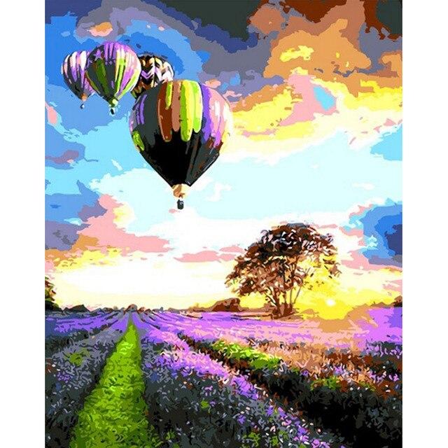 Безрамное воздушный шар DIY Живопись По Номерам Комплекты картины cuadros decoracion Раскраски По Номерам Модульная фотографии k41