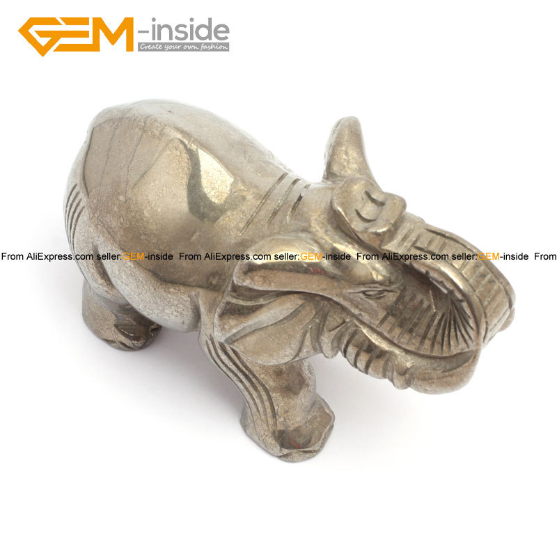 Gem-inside forme de crâne naturel & éléphants pour paracor argent gris Pryite décoration 4 pouces 1 pièces pour femme homme enfants cadeau - 2