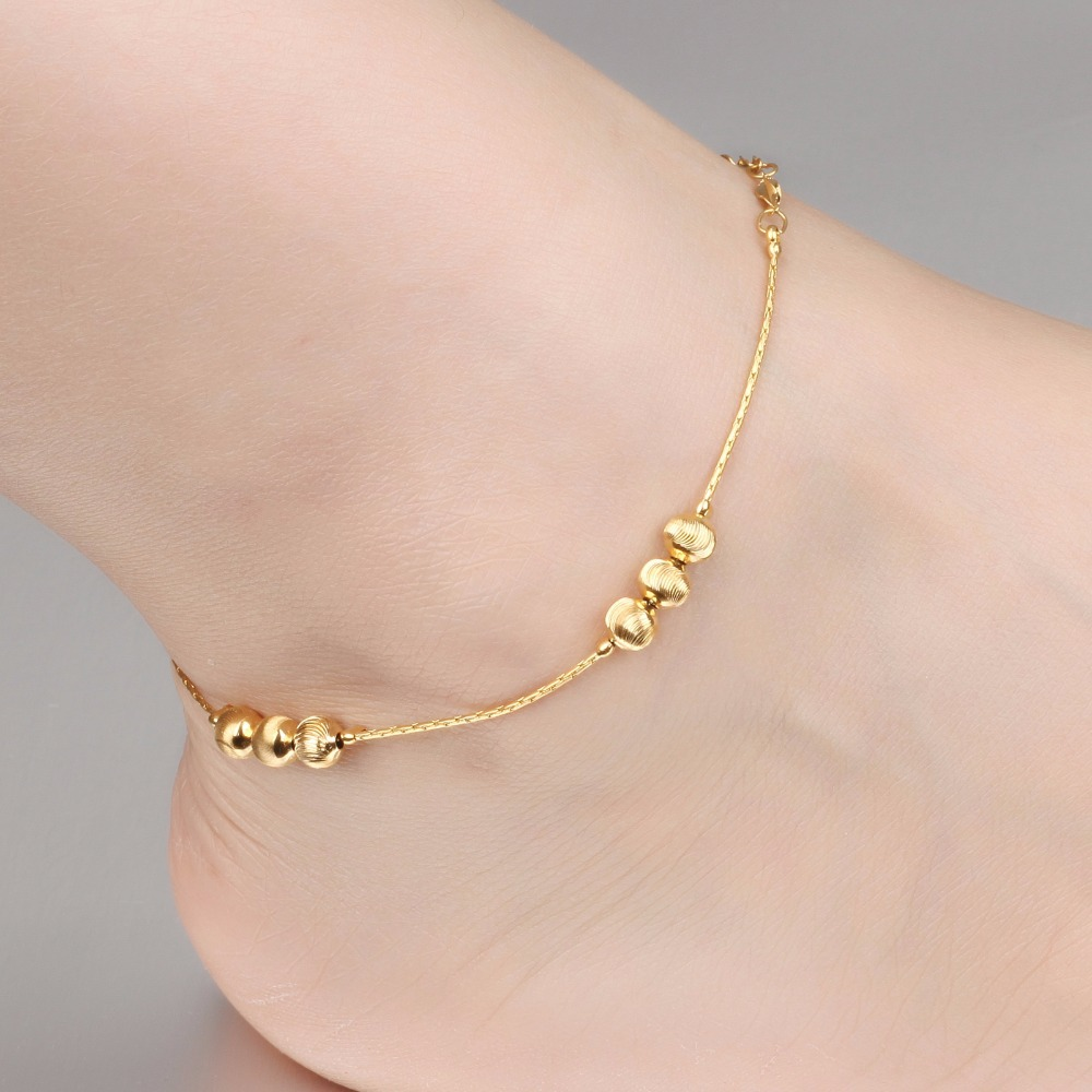 dangling az filled plated anklet sgs brass bling gold leg jewelry ankle bead beads bracelet