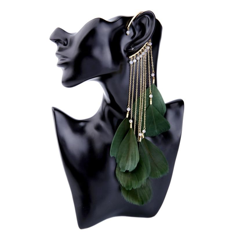 SUKI Bohemian Colour Feather Ear Hook Clip on Earrings Without Piercing for Women Accessories Long Tassels Cuff Earring Jewelry