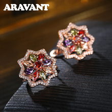 Luxury Earrings Brilliant Flower Hoop Earring With AAA CZ Zircon Stone Women Birthday Jewelry Gifts