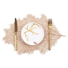 Dining Table Simulation Coral Branch Placemat For Tea Coffee Coaster Gold Mat Insulation Pads