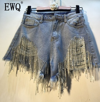 [EWQ] 2019 Spring Summer 2019 Wear Heavy Tassels Nail Diamond Beads High All-match Thin Waist Cowboy Shorts Women AE32305
