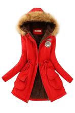 TFGS Women Hooded Fur Winter Thick Padded Long Coat Outerwear Parkas black fur hooded lace up thickened padded coat