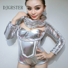 DJGRSTER 2017 Space Silver Bodysuit Costume Women Sexy Jazz Dance Jumpsuit Female Singer DS Dance Stage Costumes Nightclub