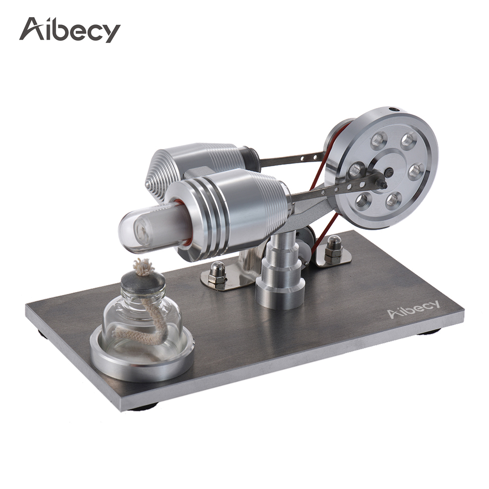 Aibecy Mini Hot Air Stirling Engine Motor Model Heat Power Electricity Generator Machine LED Light Educational