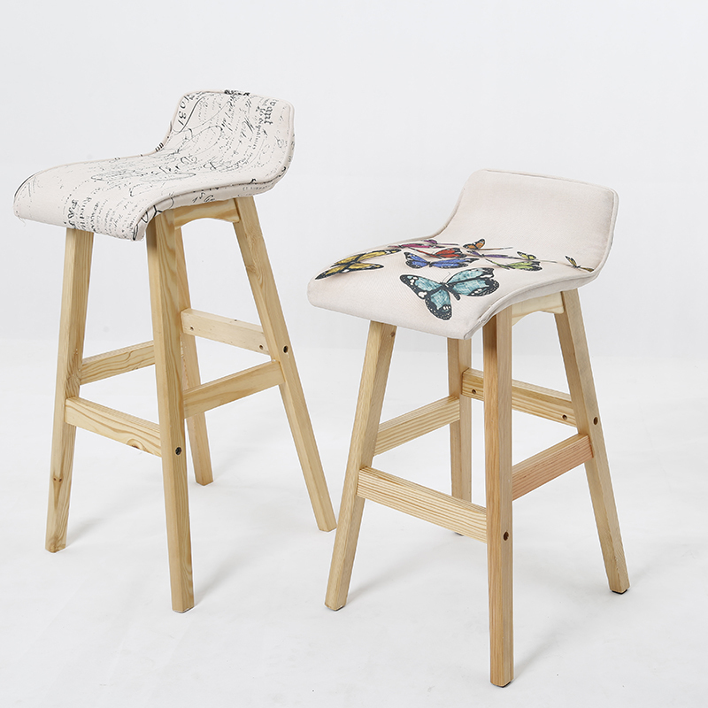 Wooden Legs Bar Chairs Multi Color Optional European