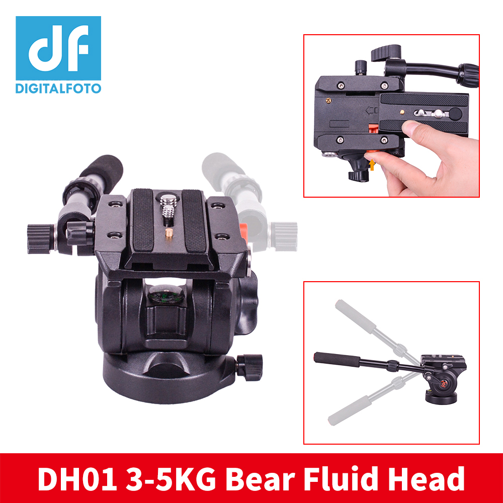 DH01 Professional video tripod head Panoramic Hydraulic monopod Fluid head +Quick Release Plate for Canon Nikon Sony Camera