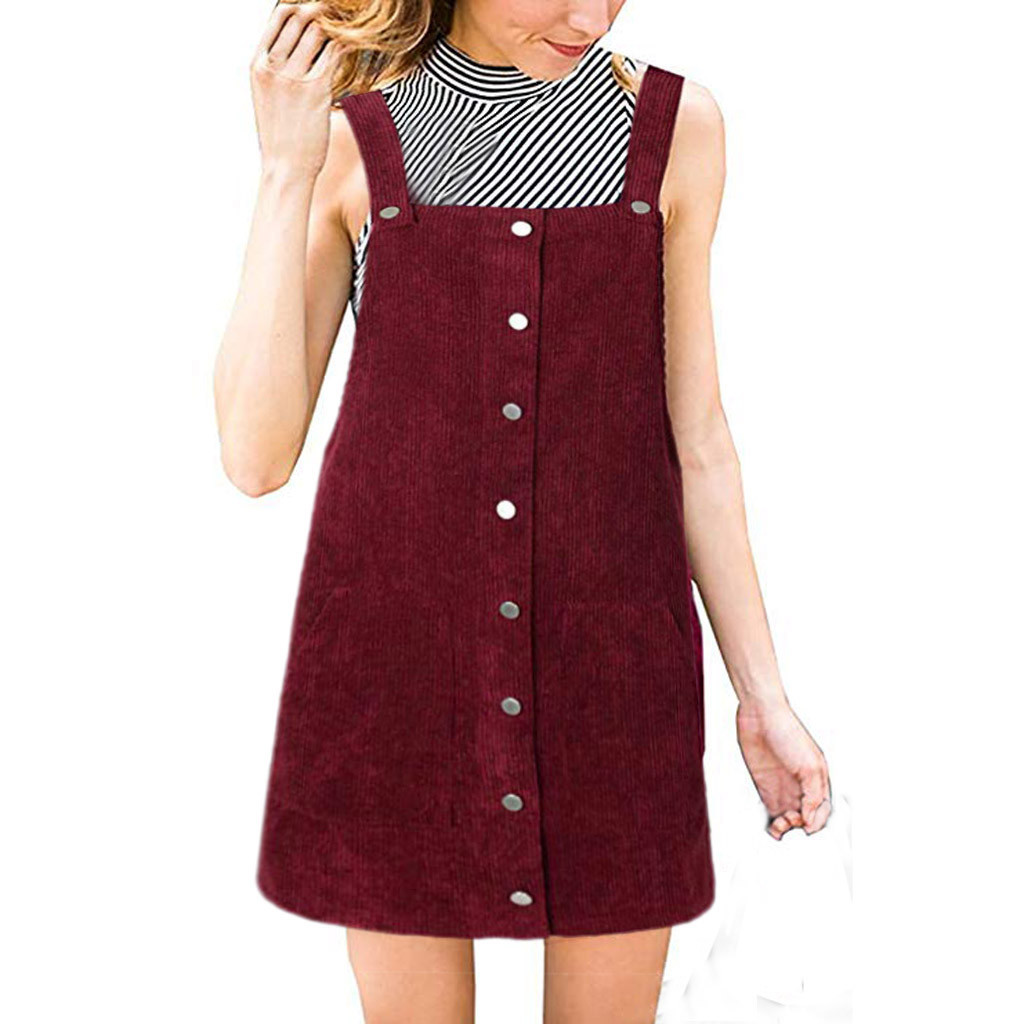 HTB1hIeSa6zuK1Rjy0Fpq6yEpFXat Free Ostrich 2019 Pink Wick Velvet Women Corduroy Straight Suspender Mini Bib Overall Pinafore Casual Button Dress Hot Sales