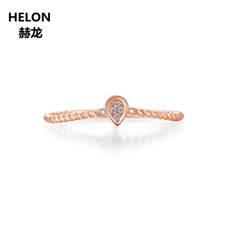 Solid 14k Rose Gold Natural Diamonds Engagement Wedding Ring for Women Anniversary Party Fine Jewelry BandSolid 14k Rose Gold Natural Diamonds Engagement Wedding Ring for Women Anniversary Party Fine Jewelry Band