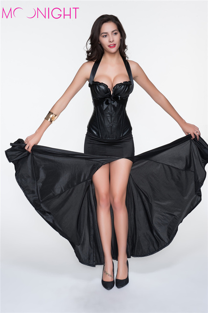 Sexy Lady Bustier Burlesque Corset Tops Negro Forma Steam Punk de Las Mujeres Halter Sexy Cincher Corselet