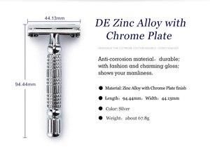 BAILI, Мужская бритва с открытым носком для парикмахера, безопасная бритва для бритья, Мужская бритва из нержавеющей стали с двойными краями, откручивающийся сплав цинка + подставка BD179