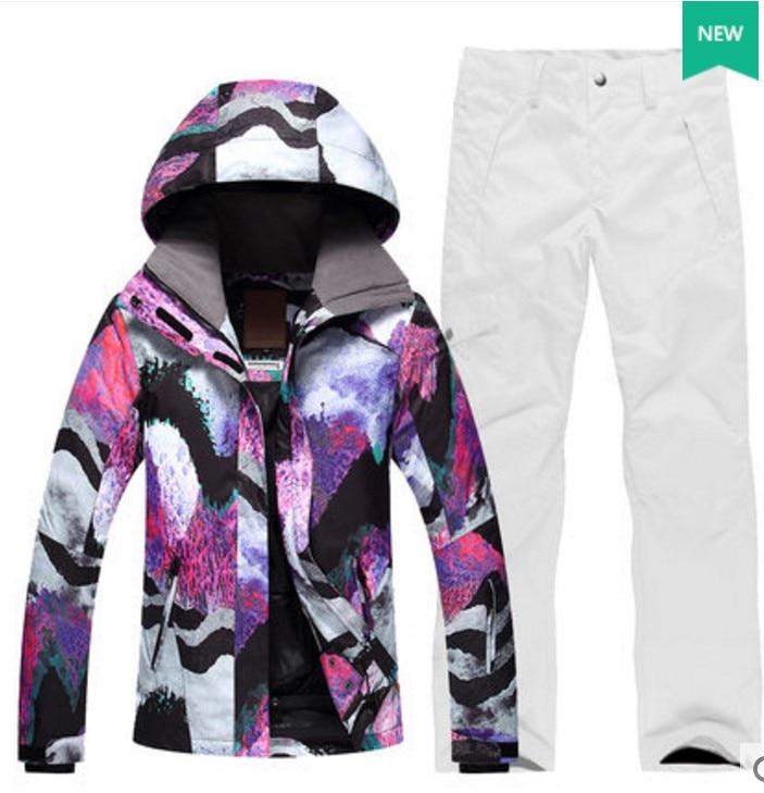 da6b6daa8e Female white waterproof 10K ski suit women white purple snowboarding ski  jacket and white ski pants