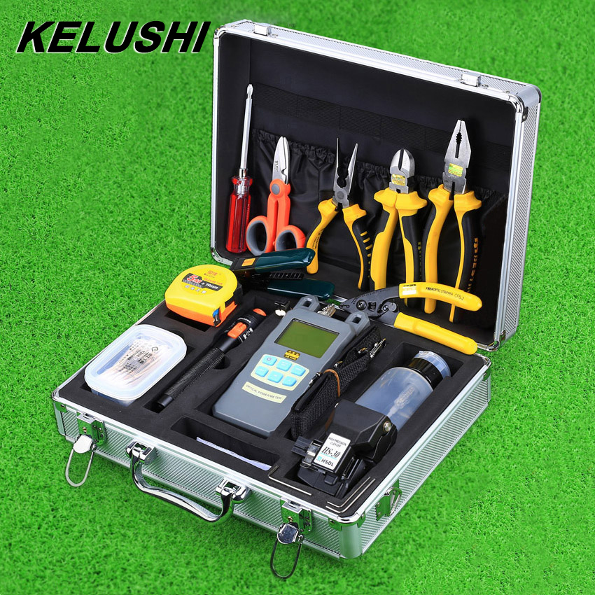 KELUSHI 30pcs Fiber Optic Tool Kit HS-30 Cleaver Optical Power Meter 10mW Visual Fault Locator Fiber Cable Tester Striping tool