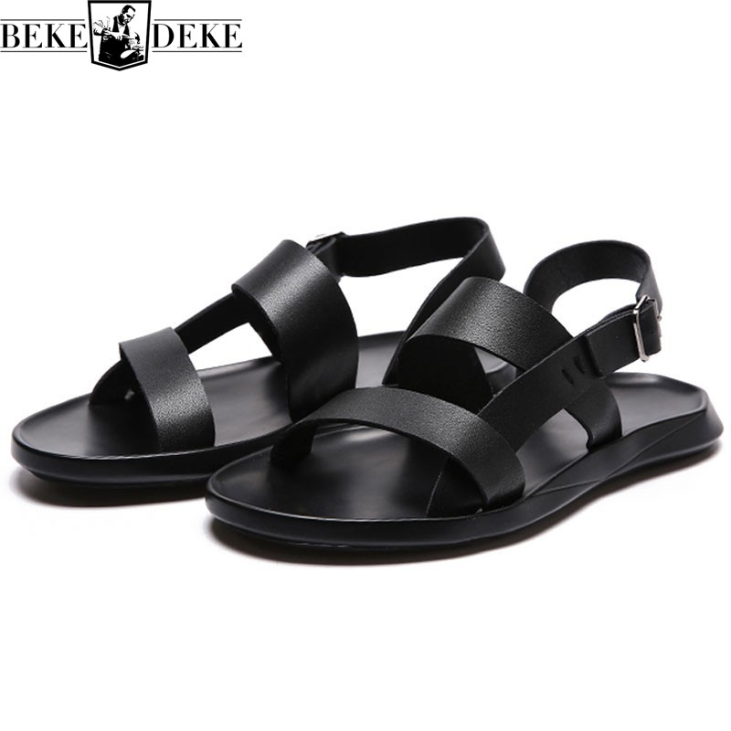 Classic Black Solid Natural Leather Sandals Men Summer Brand Casual Breathable Flat Shoes Open Toe Beach Sandals Slippers Hombre