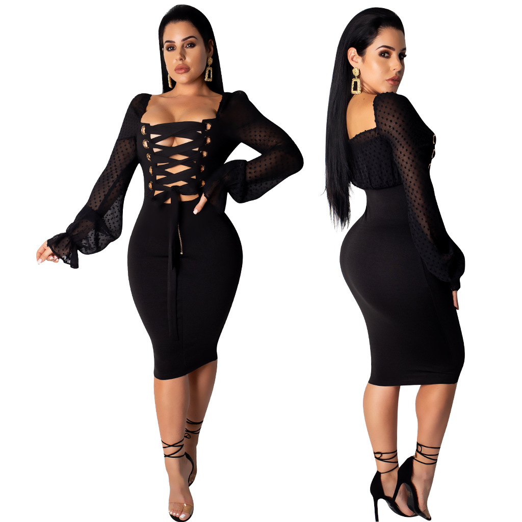 Sexy Front and Back Wear Long Sleeve Solid Dress Hollow Out Bandage Strapless Dresses Vestidos Verano 2019 in Dresses from Women 39 s Clothing